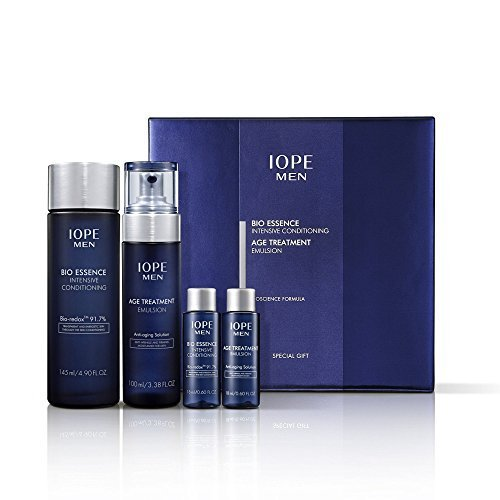 Iope Men Special Gift Set 4pcs (Bio Essence Intensive Conditioning + Age Treatment Emulsion) (Conditioning Emulsion)