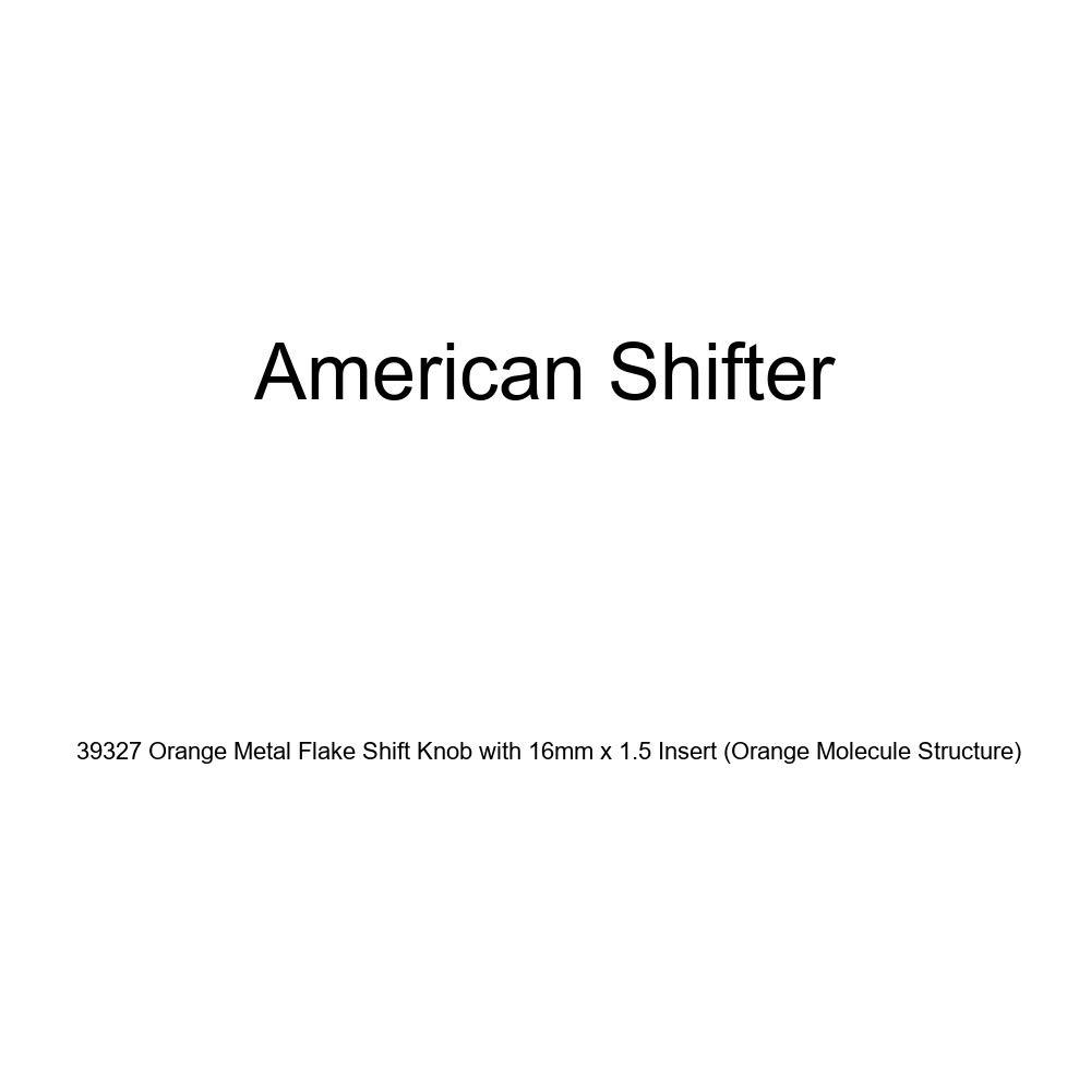 American Shifter 39327 Orange Metal Flake Shift Knob with 16mm x 1.5 Insert Orange Molecule Structure