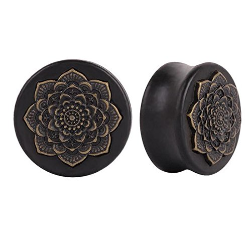 (ANDYLE Wood Vintage Brass Flower Ear Plugs Tunnels Saddle Expander Body Piercing (Gauge=7/8