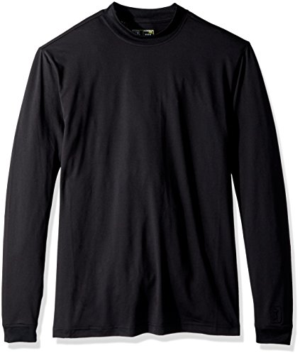 PGA TOUR Men's Long Sleeve Motionflux Mock Neck T-Shirt, Caviar, XL