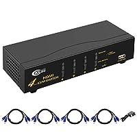 CKLau 4 Port USB KVM Switch HDMI with 4 Kit Cables Control 4 Computers/Servers/DVR for Linux, Unix, Windows, Mac