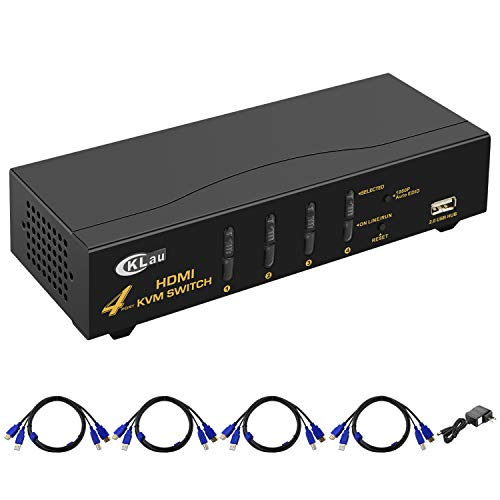 CKLau 4 Port USB KVM Switch HDMI with Cables