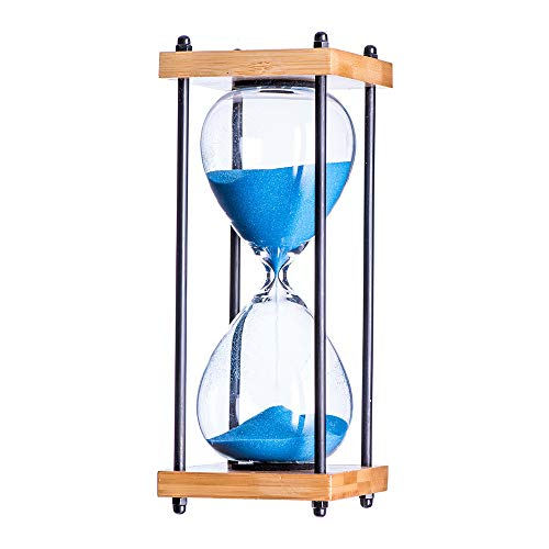 Large Hourglass (Bellaware Large Hourglass Timer, 30 Minutes Wooden Sandglass, Blue Sand Timer)