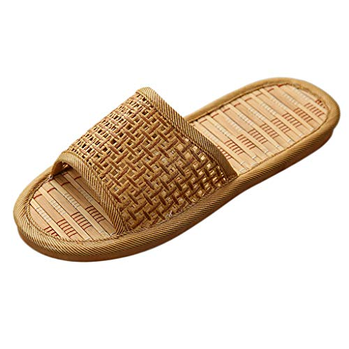 (CCFAMILY Women's Mens Fashion Unisex Summer Couples Cane Household Slippers Indoor Shoes Brown)