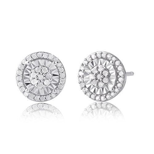 Sterling Silver Diamond Miracle Plate Stud Earring (1/4 cttw, J-K Color, I3 Clarity) -