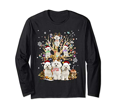 Bichon Frise Christmas Tree Ornament Gift Dog Lover Long Sleeve T-Shirt (Frise Bichon Christmas Ornaments)