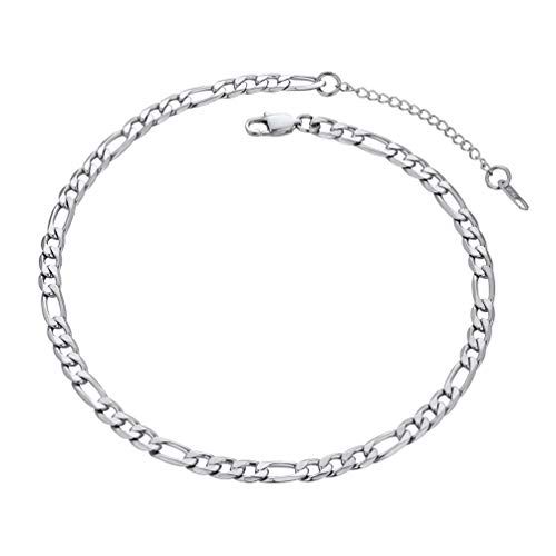 (PROSTEEL Stainless Steel Figaro Chain Choker Necklaces Women Men Girl Jewelry Trendy Figaro Link Chain Choker Necklace)