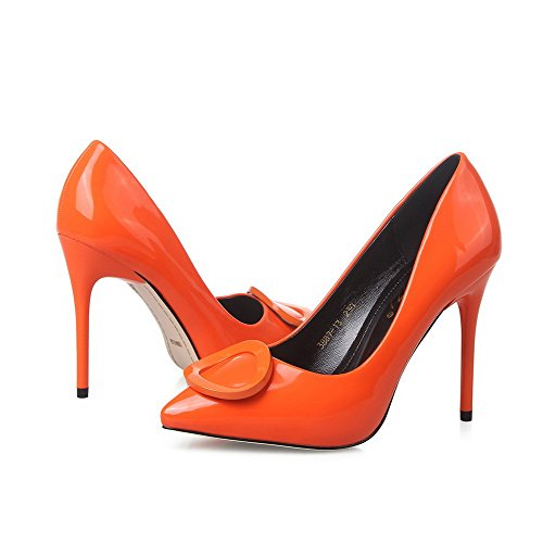 AalarDom Damen Spitz Zehe Ziehen Auf Rein Stiletto Pumps Schuhe Orange-10CM