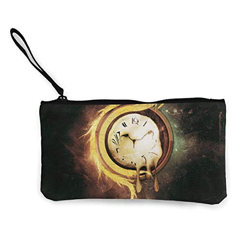 Canvas Coin Purse Alarm Clock Cosmetic Makeup Storage Wallet Clutch Purse Pencil Bag ()