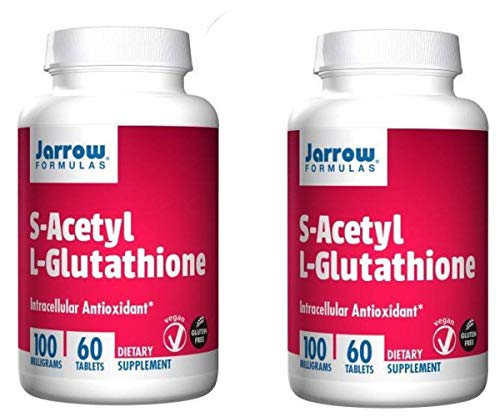 Jarrow Formulas S-Acetyl L-Glutathione - Unique Formula is Stable in The Blood as a Intracellular Antioxidant While Promoting Liver Health (60 Veggie Tablets) Pack of 2