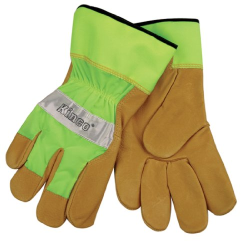 - KINCO 1919-XL Men's High Visibility Unlined Grain Pigskin Gloves, Safety Cuff, X-Large, Green