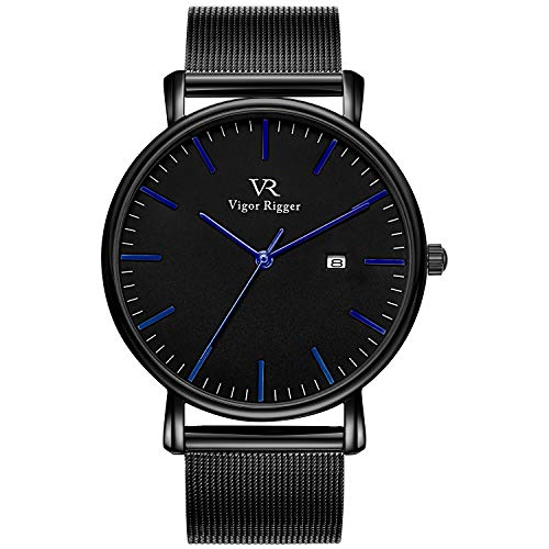 Vigor Rigger Men's Fashion Slim Quartz Date Wrist Watch with Leather & Mesh Band (Blue Black)