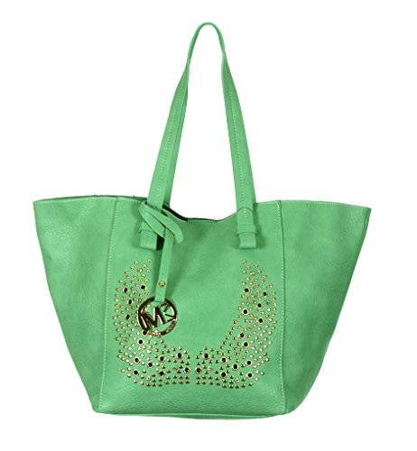 3-In-1 Leatherette Tote Bag, Satchel & Clutch Purse by Michael Michelle (Green) (Vuitton Bucket Louis)