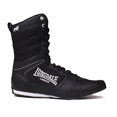 Lonsdale Mens Contender Boxing Boots Full Lace Up Sport Shoes Trainers Footwear Black/White UK 9 (43) (Best Boxing Hand Wraps Uk)