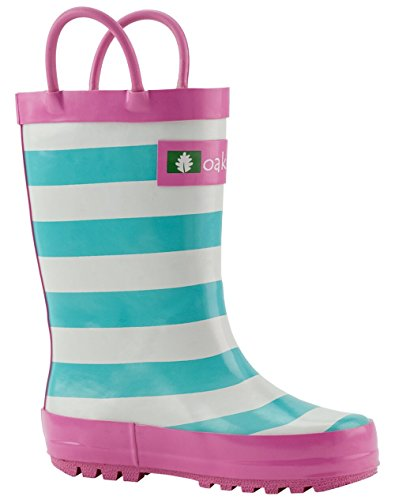 Oakiwear Kids Rubber Rain Boots with Easy-On Handles, Mint, White & Pink Stripes, 7T US Toddler by Oakiwear