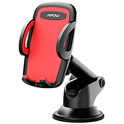 Mpow Car Phone Mount, Phone Holder, on Dashboard/Windshield, 360° Rotation, One-Hand Operation, for iPhone X/8/8Plus/7/7Plus/6s/6Plus/5S, Galaxy S5/S6/S7/S8, Google Nexus, LG, Huawei and more