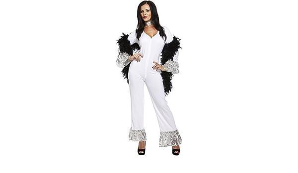 Mujer 1970s AÑOS 70 Dancing Queen Blanco Mono ABBA Disfraz: Amazon ...