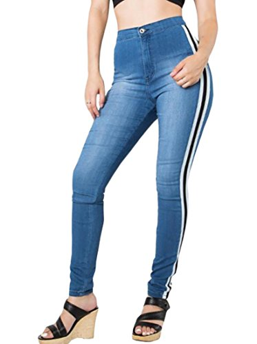 X-Future Womens High Waisted Jeans Skinny Side Striped Denim Pants Trouser 1 M