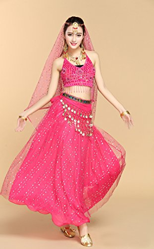 Pailletten Belly Dance Kleid Honeystore Damen Latein 2017 7PC mit Dance Fuchsie Neuheiten aBwx6x1qf