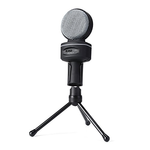 AUKEY Condenser Microphone, Studio Bidirectional Recording Condenser Mic with 3.5mm Microphone Headphones Splitter and Tripod Stand for Desktop Computers(Gray) - Image 1