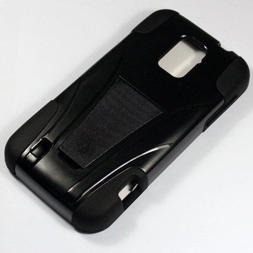 Saapni ZTE Rapido LTE Z932L (Straight Talk) – HYBRID PC/SC Combo Case w/ Kickstand – Black HYB