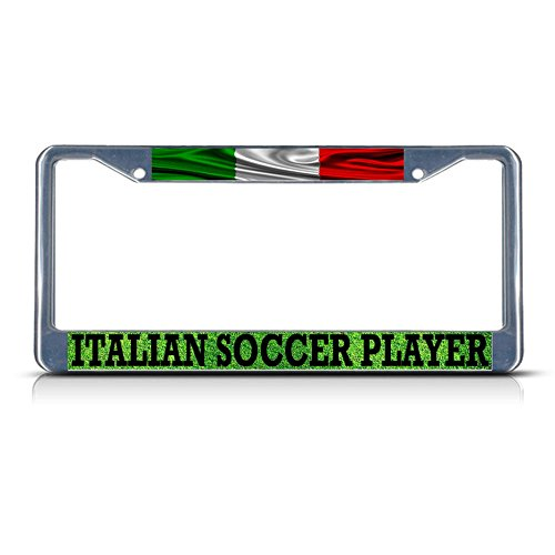 Italian Soccer Player Italy Metal License Plate Frame Tag Border Two Holes Perfect for Men Women Car garadge -