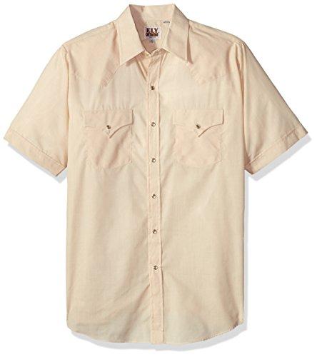 (Ely & Walker Men's Short Sleeve Solid Western Shirt, Ecru, Medium)