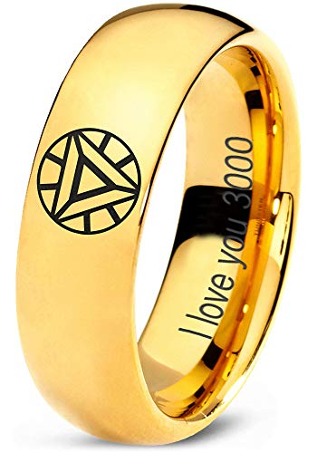 Zealot Jewelry Tungsten Quote I Love You 3000 Engraved Band Ring 7mm Men Women Comfort Fit 18k Yellow Gold Dome Polished Size ()