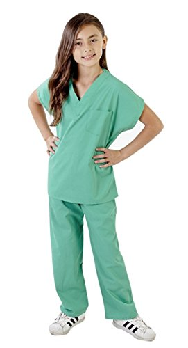 Super Soft Children Scrub Set Kids Doctor Dress up (7, Surgical Green) ()