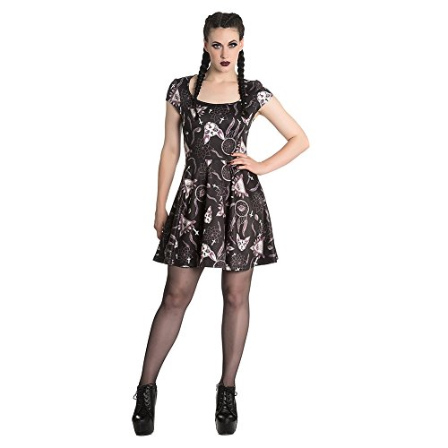 Spin Doctor Jas Cat Mini Skater Robe Patineuse Motifs Occulte Gothique (Noir)