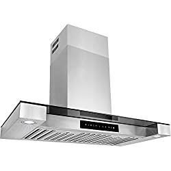 "Golden Vantage 30"" Stainless Steel Tempered Glass Wall Mount Style Kitchen Cooking Vent Range Hood w/ LED Lights Touch Control Baffle Filters"