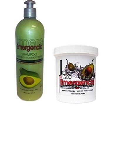 (Bundle/combo) Toque Magico Emergencia Avocado and Olive Oil (Aguacate/Aceite Oliva) Shampoo and Hair Treatment 16 Oz - Shampoo Oliva Olive Oil