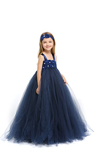 MALIBULICo Baby Girls' Navy Blue Fluffy Flower Girl Tutu Dress with Headband for Wedding and Birthday Photoshoot]()