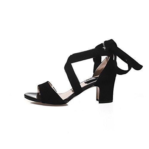 AgooLar Mujeres Mini Tacón Sólido Cordones Cuero Puntera Abierta Sandalia Negro