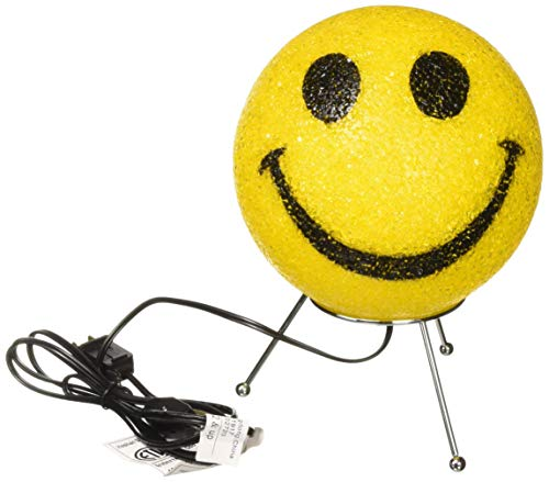 Rhode Island Novelty Plug In Electric Yellow Smile Smiley Emoji Table Top Lamp - Lamp Face Smiley