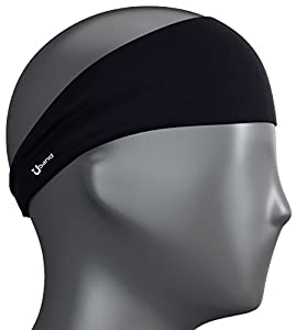 Self Pro Mens Headband - Best Guys Sweatband & Sports Headband for Running, Crossfit, Working Out and Dominating Your Competition - Performance Stretch & Moisture Wicking (Night Black)