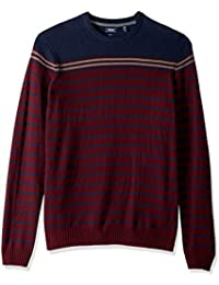 Men's Big and Tall Newport Fine 7 Gauge Stripe Crew Sweater