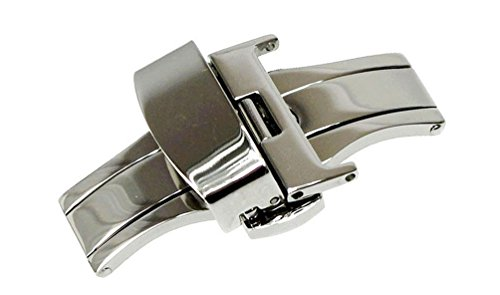 - RECHERE Stainless Steel Push Button Butterfly Deployment Clasp for Leather Watch Band Strap Silver(22mm)