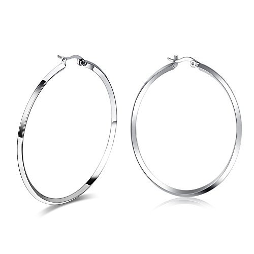 Fashion Women's Stainless Steel Round Large Size Big Hoop Earring Gold/Silver, 57mm(22.4