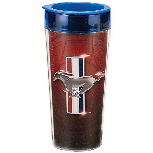Vandor 25151 Ford Mustang 16 oz Plastic Travel Mug, Multicolor (Emblem Ford Mustang Travel Mug)