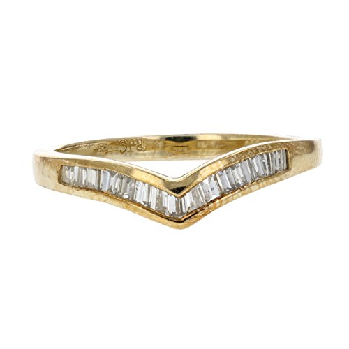 1 4 Ctw Baguette Diamond V Shape Wedding Band In 14K Yellow Gold Size
