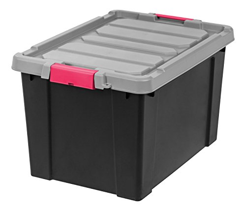 IRIS 19 Gallon Store-it-All Heavy Duty Stackable Utility Tote, Black with Pink Buckle