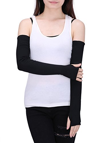 (HDE Women Fingerless Long Gloves Thumbhole Arm Warmer Sleeve Elbow Length (Black) )