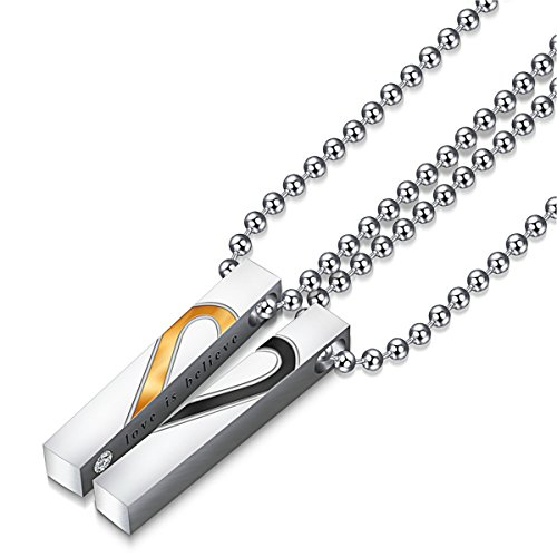 Set Love Puzzle Titanium Stainless Steel Couple Pendant Necklace Love Style (# 9) (Titanium Puzzle)