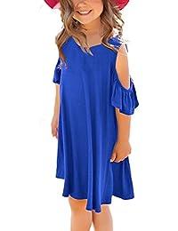 Girls Cold Shoulder Ruffled Short Sleeve Casual Loose Tunic Shirt Dress