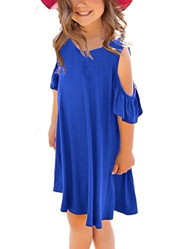 GRAPENT Girls Cold Shoulder Ruffled Short Sleeve Casual Loose Tunic T-Shirt Dress Size Medium (6-7 Years) -