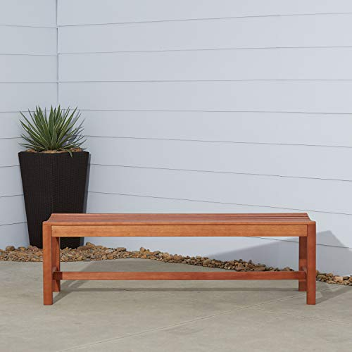 Vifah V025-1 Outdoor Baltic Wood Garden Backless Slatted Seat Bench, 5-Feet (Backless Bench Curved)