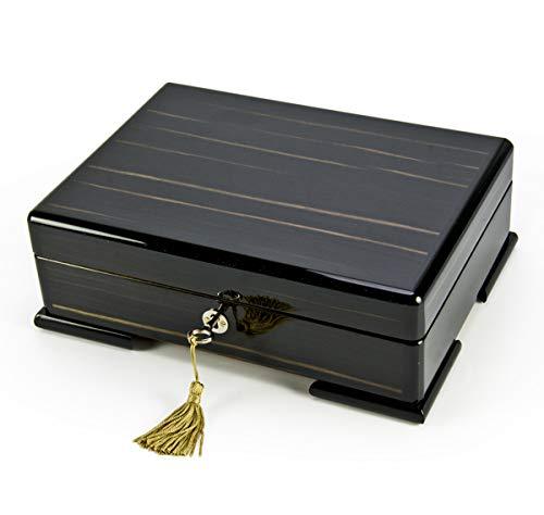 Spacious Ebony Natural Wood Tone 30 Note Hi Gloss Finish Musical Jewelry Box - Danny Boy