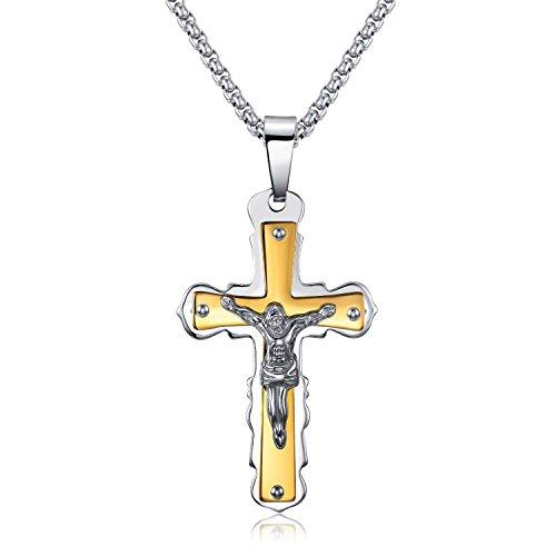 LIANTSH Fashion Jesus Christ Cross Crucifix Stainless Steel Men's Necklace, 23.6''