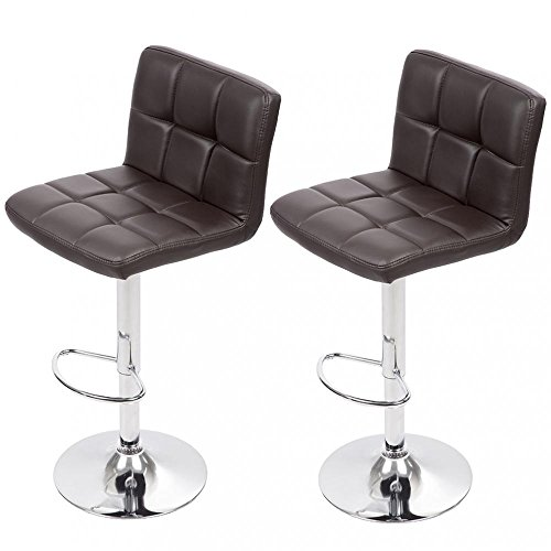 Set of 2 Adjustable Bar Stool Counter Height Chair w/ Backrest Footrest (Set Bar Chair)